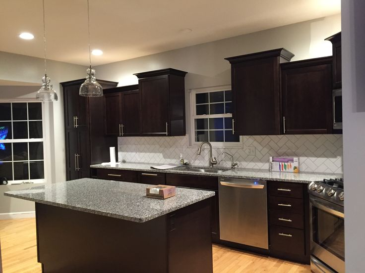 Dark Cabinets Kraft Maid Subway Tile Azul Platino Granite 2016 Remodel Kitchen Kitchen Decor