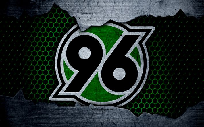 Download wallpapers Hannover 96, 4k, logo, Bundesliga, metal texture, soccer, FC Hannover, football