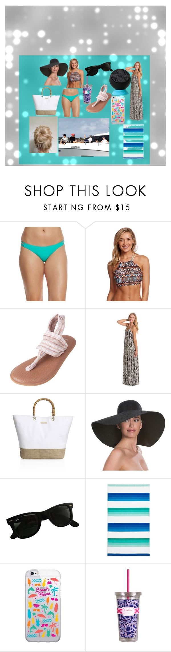 """The Beach with Bae"" by reagans-2 on Polyvore featuring Eidon, Swim Systems, sanuk, Volcom, Heidi Klein, Eric Javits, Ray-Ban, Sky, OTM Essentials and Lilly Pulitzer"