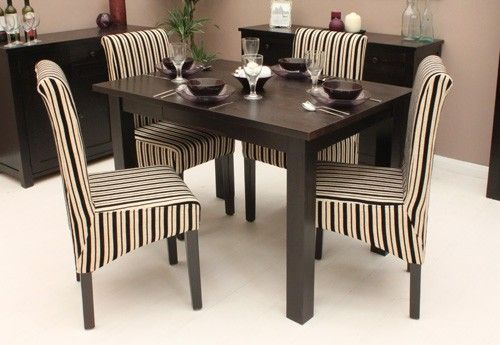 Dark wood small dining table 4 seater wooden furniture for Dining table set 4 seater
