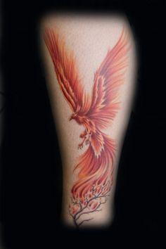 Amazing Flying Phoenix And Blossom Tree Tattoos On Leg