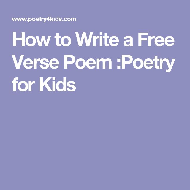 how to write a free verse poem for dummies