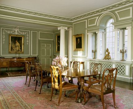 The Dining Room Taken From The South West Corner Showing The Venetian  Window, Cumberland Dining Table And Chippendale Chairs At Croft Castle ©  NTPL/Nadia ...