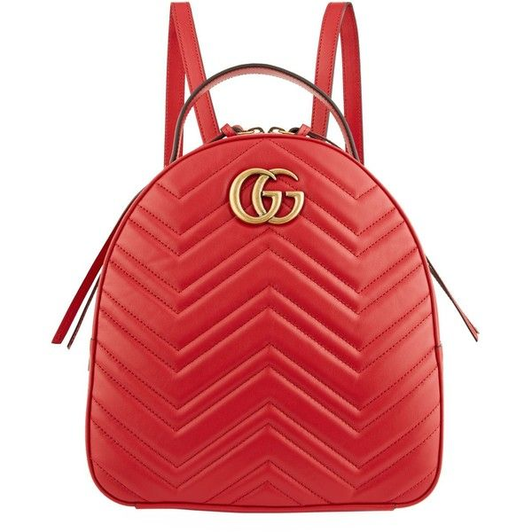 Gucci Marmont Chevron Backpack ($1,690) ❤ liked on Polyvore featuring bags, backpacks, leather knapsack, leather zip backpack, real leather backpack, oversized backpacks and red backpack