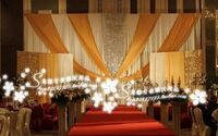 New Design Wedding Backdrop \ Stage Curtain white and gold with sequin 10ft*20ft