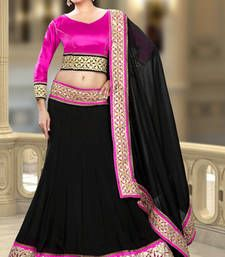 Buy Black embroidered silk lehenga choli lehenga-choli online
