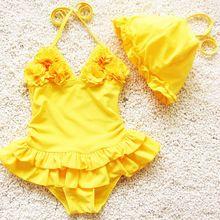 Bebés al por menor de una pieza del traje de baño 2015 del verano niños niñas flor vestido de traje de baño con falda del tutú bañadores rosa azul amarillo(China (Mainland))