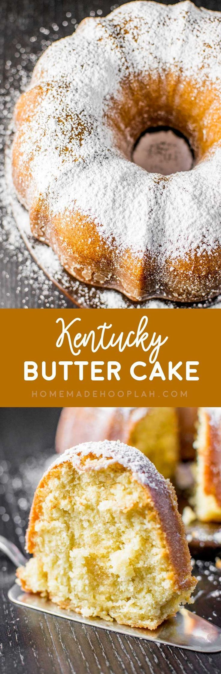 Kentucky Butter Cake! Extra moist and crumbly pound cake covered in a crispy sugar coating (with no alcohol in it, so it's family friendly!) Fair warning, this cake is addictive! | HomemadeHooplah.com