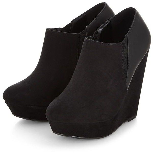 Black Platform Wedge Shoe Boots ($30) ❤ liked on Polyvore featuring shoes, boots, ankle booties, heels, shoes/boots, pointed toe booties, black pointed toe booties, heeled booties, black booties and vegan boots