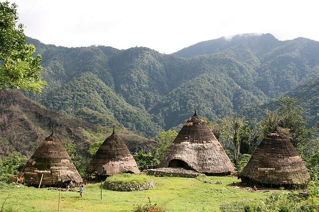 Mbaru Niang, traditional Indonesian houses at Wae Rebo Village, district Manggarai, Flores, NTT - via travelonfoto
