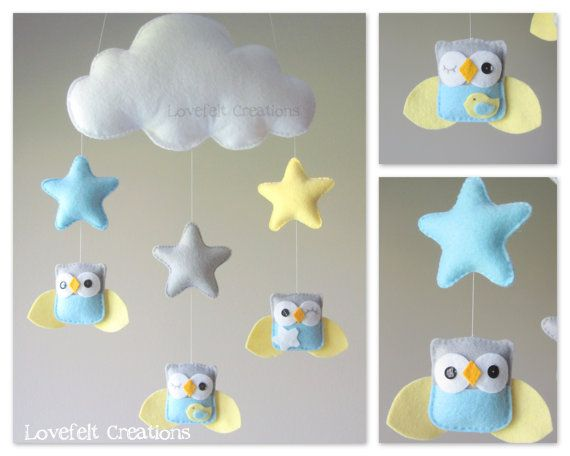 READY TO SHIP  Baby mobile  Owl mobile  Baby crib por LoveFeltXoXo, $85.00