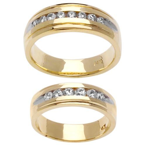 Superb Two Tone Channel Set His And Her Wedding Rings. These Are Very Similar To My