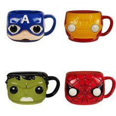 Marvel Comics Hulk, Iron Man, Captain America and Spider-Man Coffee Mugs