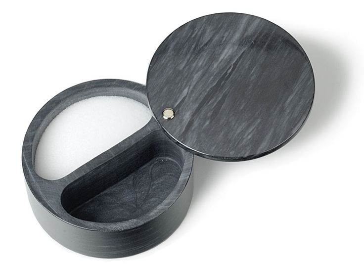 RSVP Black Marble Swivel Top Dual Compartment Salt Box. #marble #saltbox #kitchenaccessories