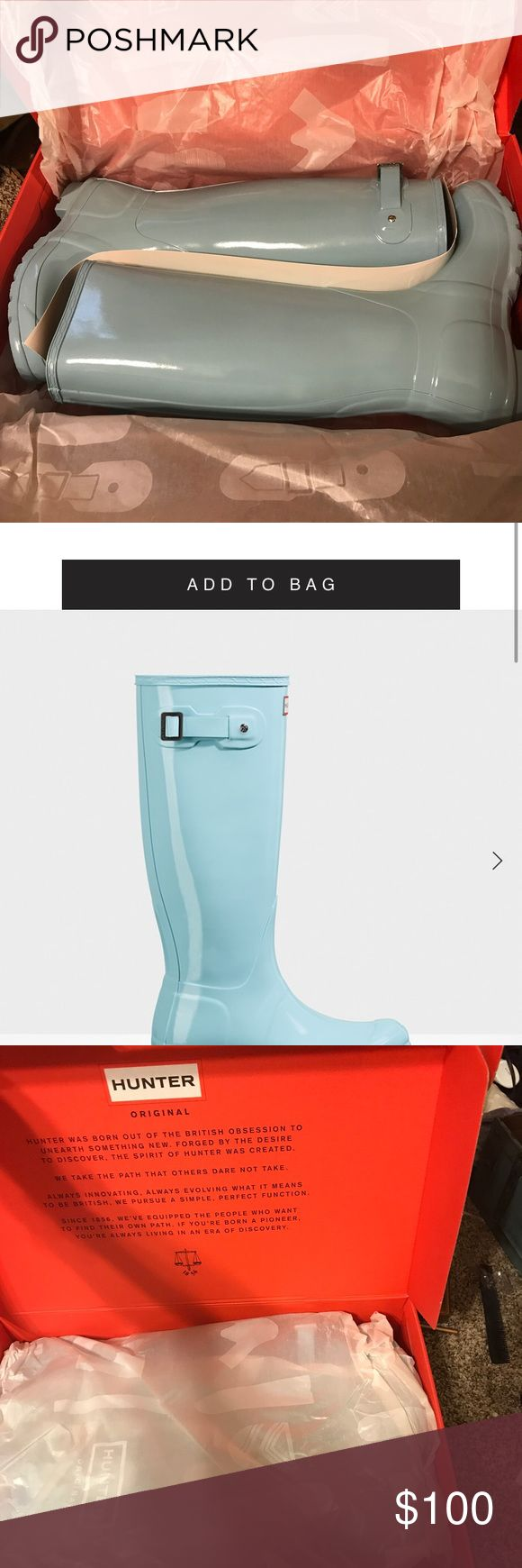 Green mint Hunter boots size 8 Brand new. Only tried on. Original packaging. Hunter does not return sale items, and these do not fit me. Selling for $100.00 size 8 ( I normally wear a 8 1/2 to a 9 ) I have a pair of Hunters already that do fit and they are so worth it. Hunter Boots Shoes Winter & Rain Boots