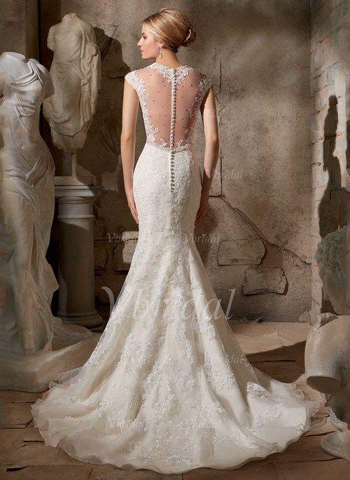 Wedding Dresses - $212.19 - Trumpet/Mermaid V-neck Sweep Train Tulle Wedding Dress With Lace Beading (0025088677)