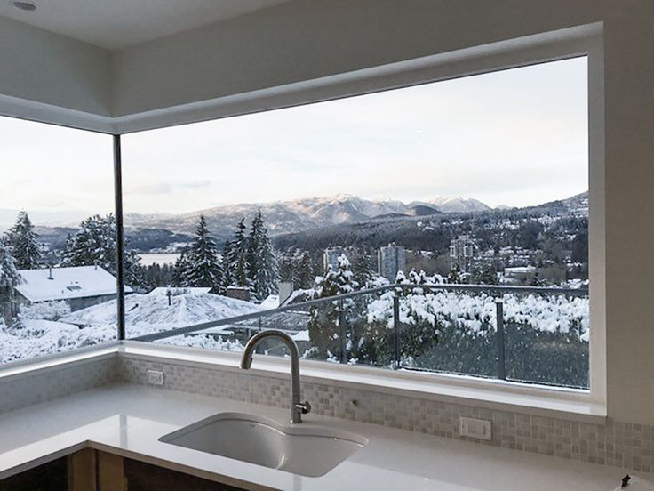 A picturesque view through a Westeck Butt Glazed Window at a project in #Coquitlam, BC. A stunning, unobstructed view with maximum visibility due to the glass being joined at the corner seam.