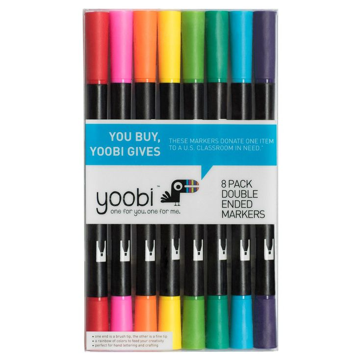Yoobi Double Ended Brush Tip Markers, 8ct,