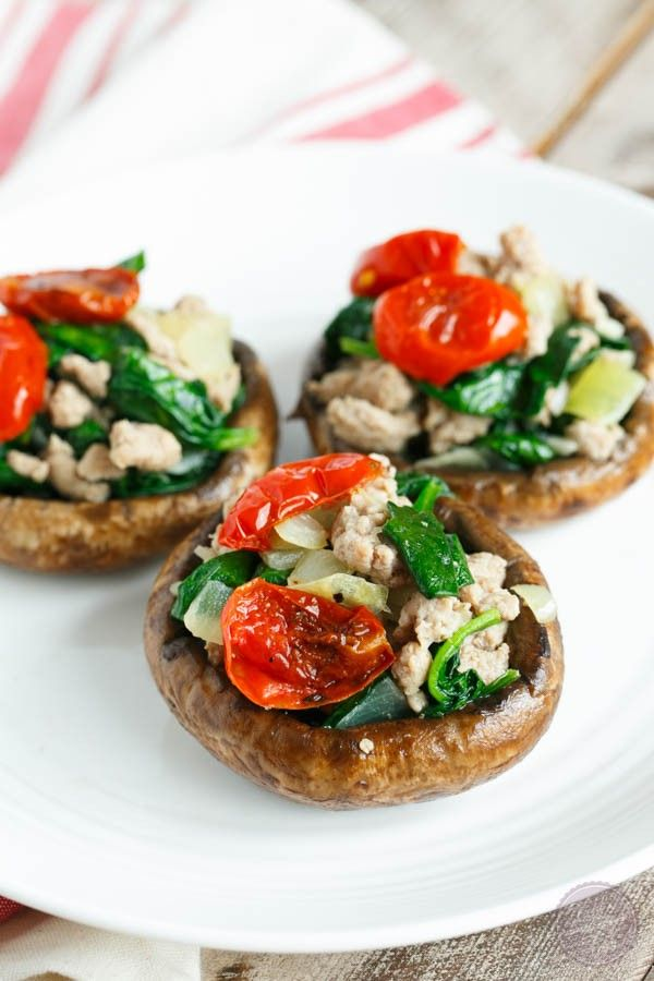 Ground turkey and spinach stuffed mushrooms