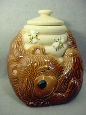 Vintage McCoy Pottery, Sleeping Bear with Honey Pot & Bee's, Cookie Jar