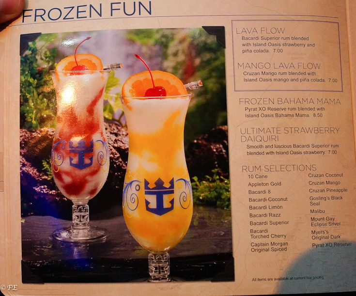 Every Royal Caribbean drink menu you can think of - great to prepare for pricing or all you can drink packages.