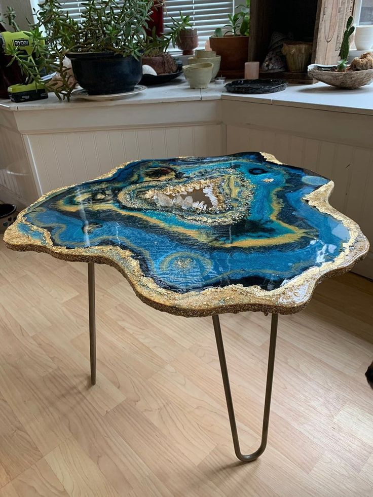 Available ocean geode table side table coffee table boho