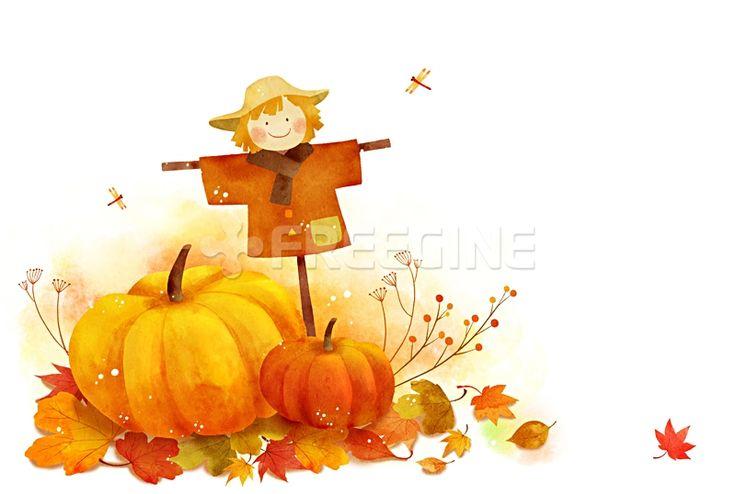 배경, 백그라운드, 계절, 오브젝트, 낙엽, 농작물, 수확, 일러스트, freegine, 가을, illust, 감성, 호박, 단풍, 허수아비…