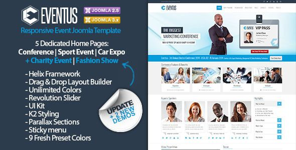 Eventus is a clean and modern event oriented Joomla 2.5.X and Joomla 3.X Template. Eventus comes with 5 dedicated home pages: conference, car expo, winter sport event, charity event and fashion sh...