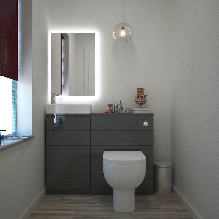 Mercury Grey 1010 Cloakroom Suite-an ideal fit for any compact and petite cloakroom