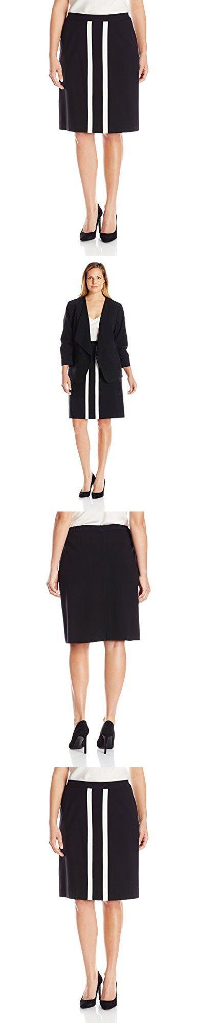 Nine West Women's Plus Size Stretch Twill Contrast-Detail Skirt, Black/Lily, 18W