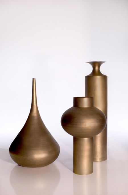 Beat vessels are a series of vases made of solid, hand-beaten brass by Tom Dixon.