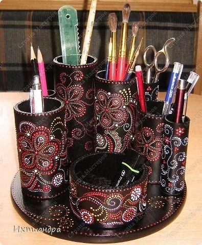 Декор предметов Роспись Чудо-органайзер Дерево Картон Клей Краска Материал бросовый фото 1