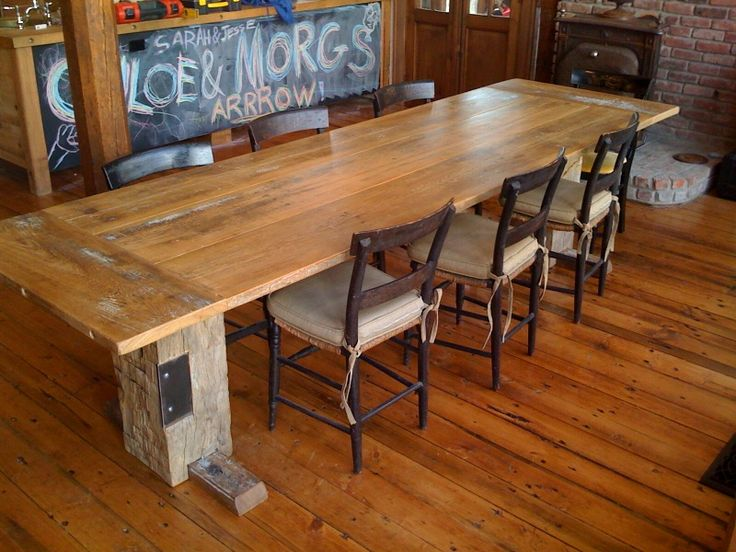 antique farm table to enhance that rustic dining room style