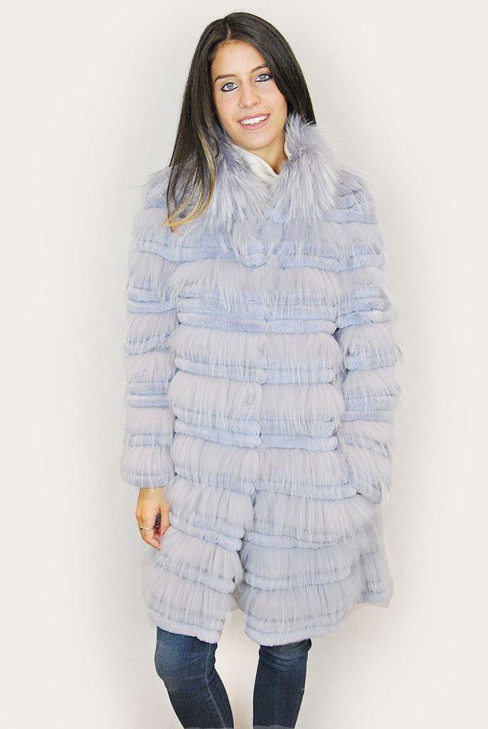 JESSIMARA BABY BLUE RACCOON AND RABBIT FUR COAT