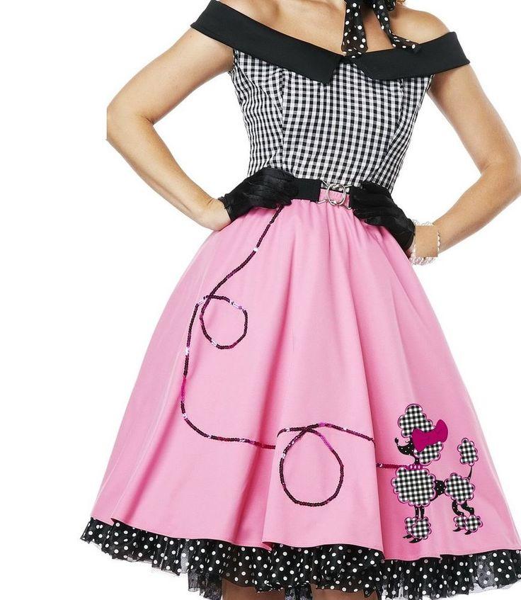 Ladies Rock N Roll 1950s Poodle Grease Fancy Dress Skirt Pink Lady Costume 50 60