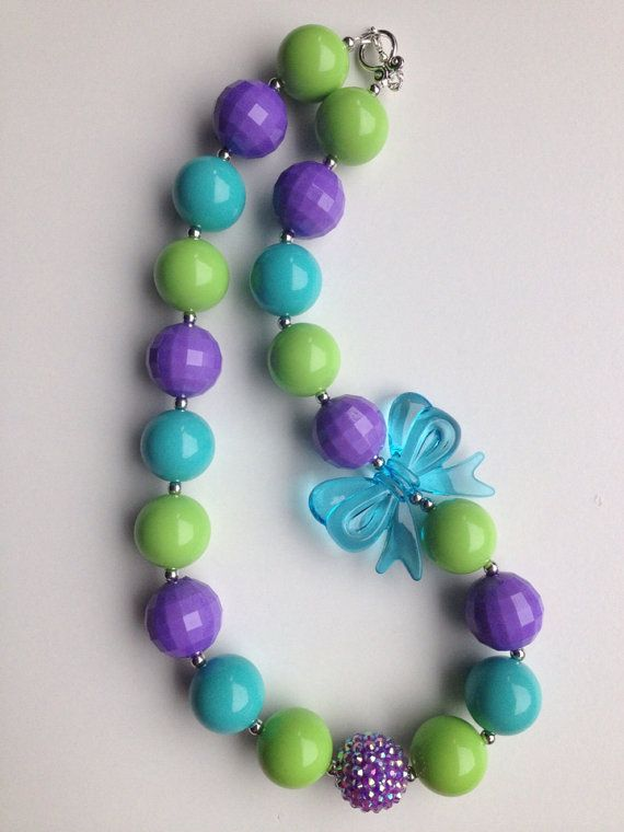 Purple, blue and teal chunky necklace.. Chunky bead necklace.. Kids necklace.. Girls necklace.. Bubblegum necklace.. Gumball necklace