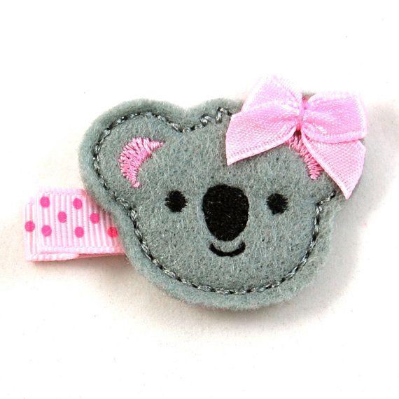 Koala Felt Hair Clip - Grey Light Pink - Alligator Clip - Baby Toddler Little Girl Hair Bow