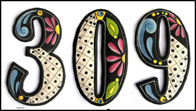 Hand painted house numbers at Tropic Decor -  Hand cut from recycled steel oil drums in Haiti.  - View at  www.TropicDecor.com