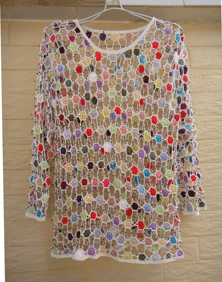 LONG SLEEVE WOMEN CROCHET JUMPERS POLKA DOT MULTICOLOR BLOUSE