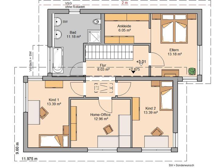 Kern-Haus Familienhaus Futura Pult Grundriss Dachgeschoss