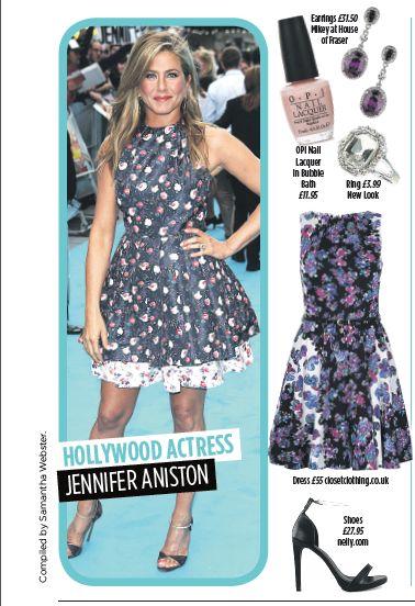 Jennifer Aniston - floral print dress. Get this look @opinails @houseoffraser @newlookfashion @closetlondon @nellycom