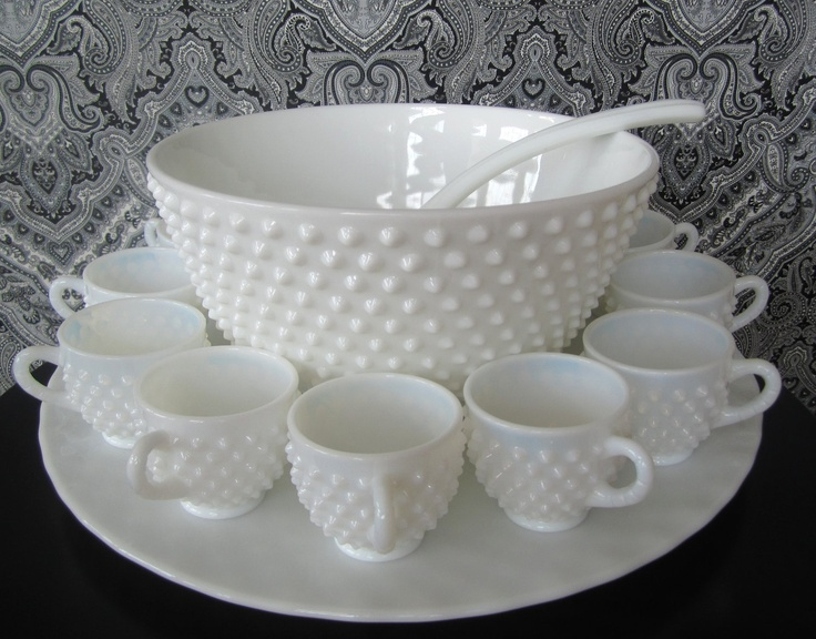 Fenton Hobnail Milk Glass Punch Bowl Set, Vintage 15 piece set.