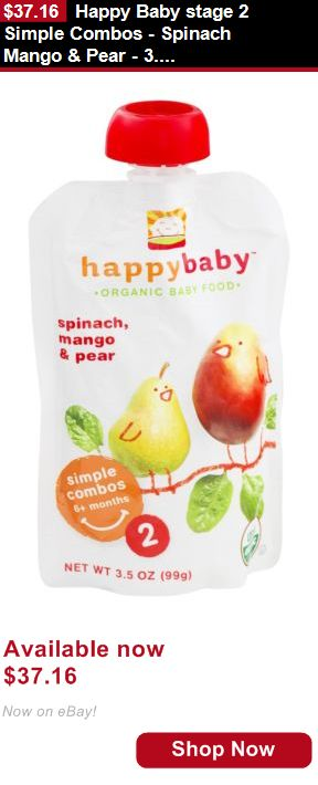 Baby Food: Happy Baby Stage 2 Simple Combos - Spinach Mango And Pear - 3.5 Oz (Pack 16) BUY IT NOW ONLY: $37.16