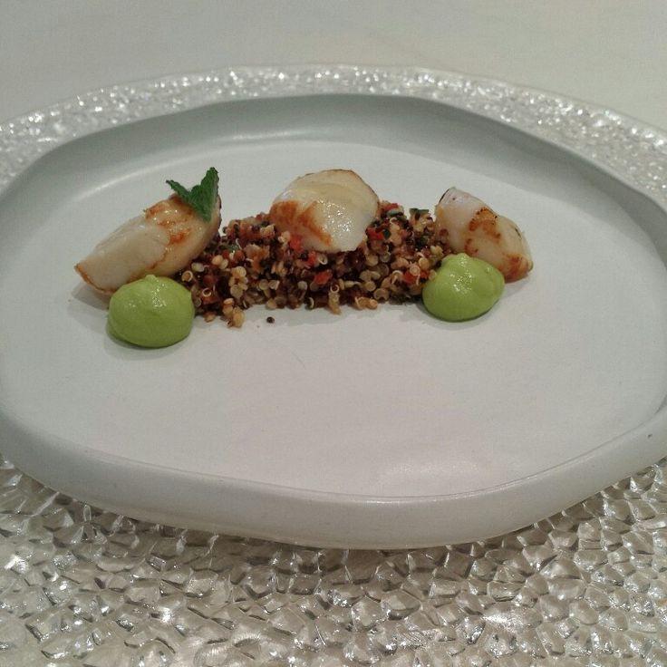 Seared scallops, toasted quinoa and sesame salad, avocado cream at @GastonAcurio #AstridyGaston (#2 on #LatinAmericas50 @TheWorlds50Best Restaurant) #FMFinPeru #Lima #Peru