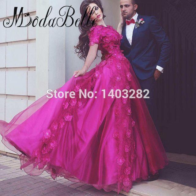 Abiti Da Sera Lunghi Beautiful Arab A Line Long Party Evening Dresses 3D Flowers Short Sleeve Arabic Formal Gowns Dubai Dresses