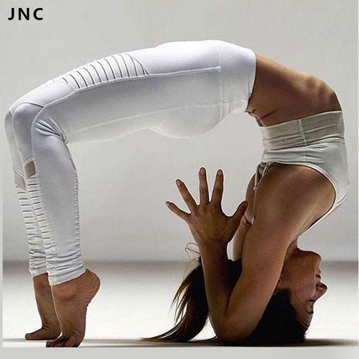 Hotsales alta qualidade moto esporte leggings com painéis de malha yoga desempenho moto-style leggings calças de yoga para as mulheres branco/preto