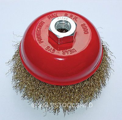 """Brass Wire WHEEL CUP BRUSH  3"""" (M10×1.5) - Angle Grinder Grinding Rust Remover"""