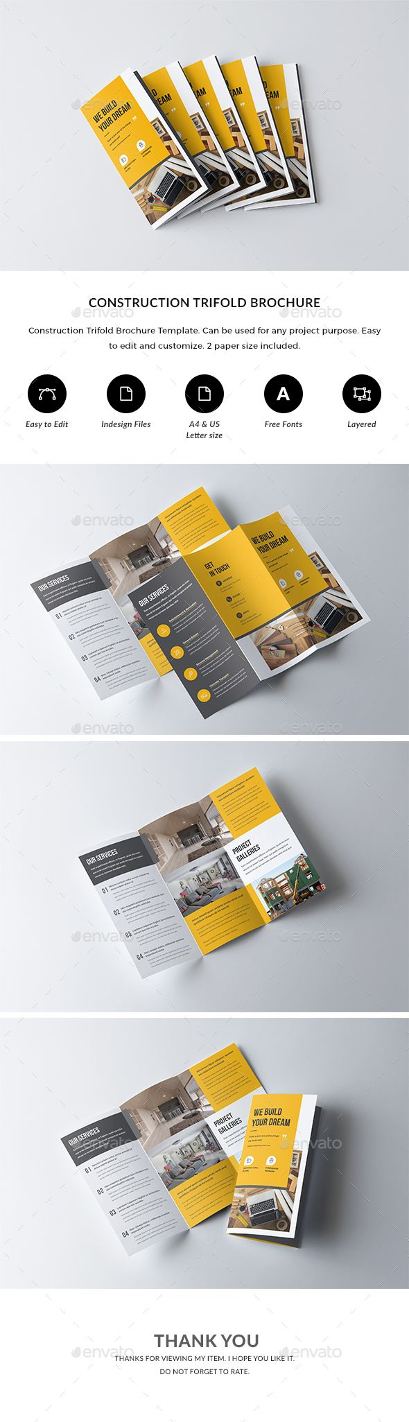 Construction Trifold Brochure — #plumbing #brochure architecture • Download ➝ https://graphicriver.net/item/construction-trifold-brochure/21248016?ref=pxcr