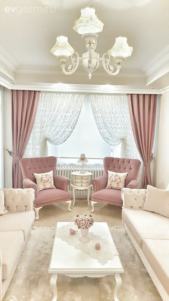 Salon, Sehpa, Halı, Pembe, Beyaz, Berjer, Perde, Fon perde    Source by bilgibuyavuz