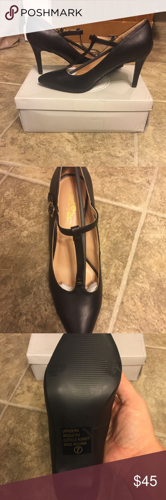 T-Strap pump size 7 black 3.25 inch heel Brand new, never worn, original packaging included Journee Collection Shoes Heels